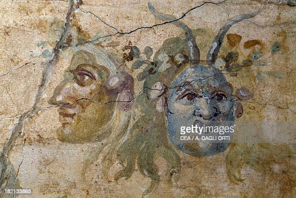 Satirical masks fresco from House of the Farnesina Rome Italy Roman Civilisation 1st century BC Roma Museo Nazionale Romano Palazzo Massimo Alle Terme
