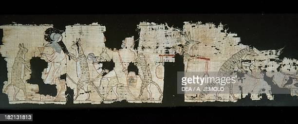Satirical papyrus depicting a rat being served by cats 13x55 cm Egyptian civilisation New Kingdom Dynasty XX Cairo Egyptian Museum