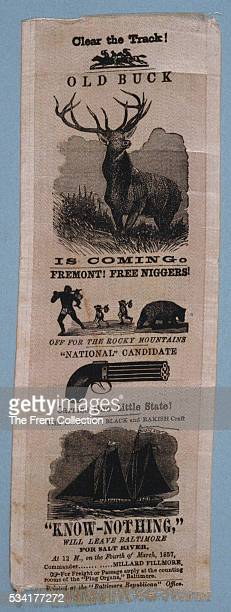 A satirical political ribbon that portrays Fremont and Republicans as radicals who will free the slaves while the KnowNothing Party heads toward Salt...