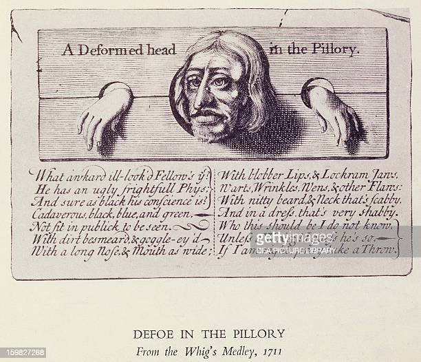Satirical representation of Daniel Defoe in the pillory engraving by Whig's Medley London England 18th century