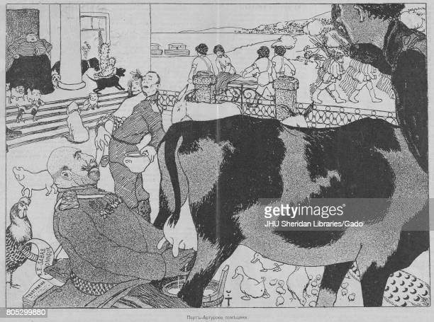 Satirical Russian cartoon titled 'The Landlords of Port Arthur' showing military commanders and a female landlord milking a cow carrying a pot and a...