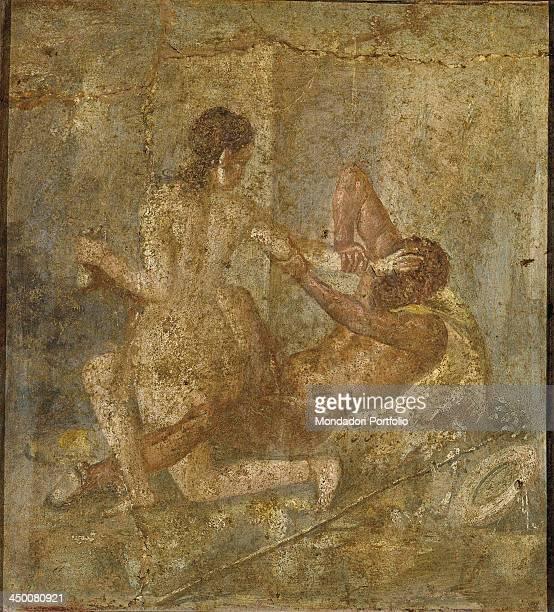 Satiro tries to rape Hermaphrodite Ist Century fresco on wall