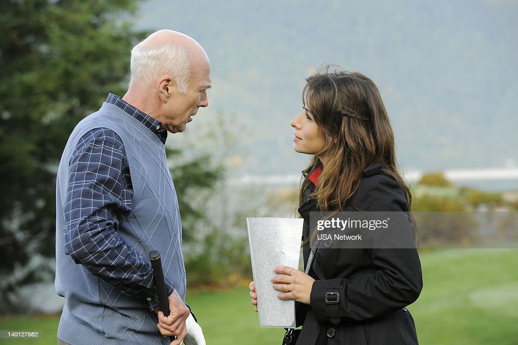LEGAL -- 'Satisfaction' Episode 201 -- Pictured: (l-r) Michael Hogan as George Algers, Sarah Shahi as Kate Reed --