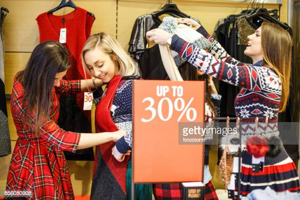 Satisfied girls in the discount store