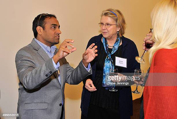 Satish Pillai PhD Associate Professor of Laboratory Medicine UCSF and Associate Investigator Blood Systems Research Institute talks with guests at...