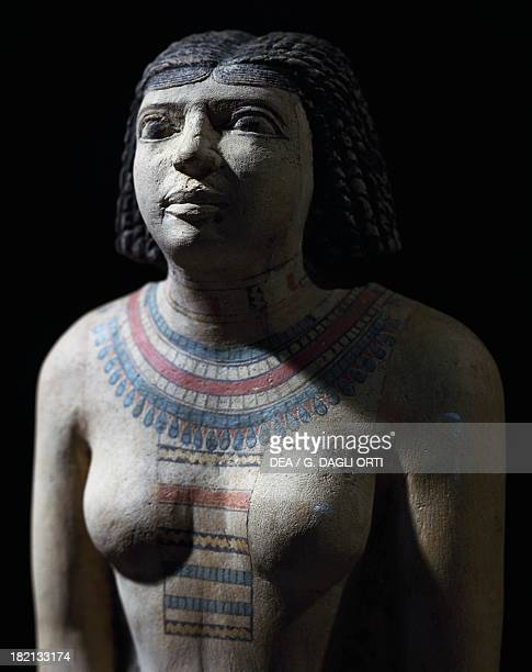 Satmeret wife of Neferherenptah painted limestone statue height 53 cm from Giza Detail Egyptian Civilisation Old Kingdom Dynasty VVI Cairo Egyptian...