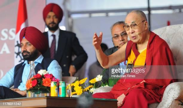 Satnam Singh Sandhu, Chancellor Chandigarh University and the Dalai Lama at Chandigarh University on October 15, 2019 in Mohali, India.