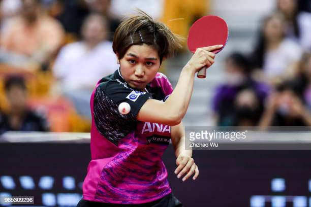 Sato Hitomi of Japan in action at the women's singles quarter-final compete with Ding Ning of China during the 2018 ITTF World Tour China Open on...