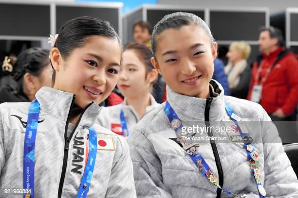 Satoko Miyahara and Kaori Sakamoto of Japan attend the draw for the Free Skating after competing in the Figure Skating Ladies' Single Short Program...