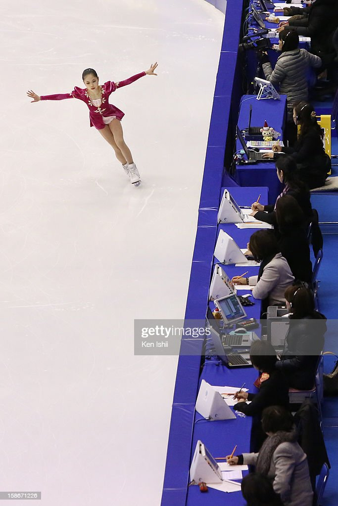 Satoko Miyahara competes in the Women's Free Program during day three of the 81st Japan Figure Skating Championships at Makomanai Sekisui Heim Ice Arena on December 23, 2012 in Sapporo, Japan.
