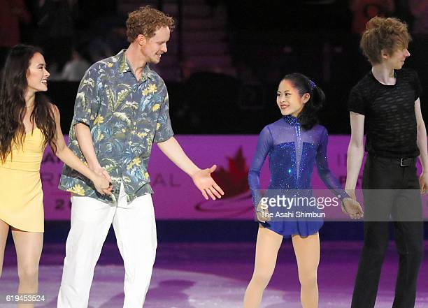 Satoko Miyahara of Japan and skaters are seen at the exhibition during day three of the 2016 Skate Canada International at Hershey Centre on October...