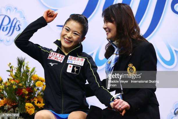Satoko Miyahara of Japan celebrates after hearing her score in the Ladies Free Dance program on Day 3 of the ISU Grand Prix of Figure Skating at Herb...