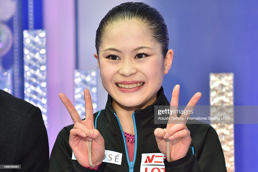 Satoko Miyahara of Japan celebrates after winning gold in the ladies's free skating during the day two of the NHK Trophy ISU Grand Prix of Figure Skating 2015 at the Big Hat on November 28, 2015 in Nagano, Japan.