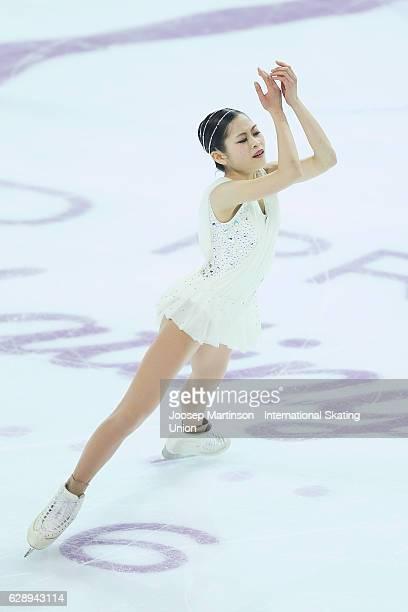 Satoko Miyahara of Japan competes during Senior Ladies Free Skating on day three of the ISU Junior and Senior Grand Prix of Figure Skating Final at...