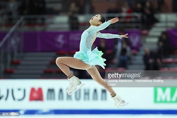 Satoko Miyahara of Japan competes during Senior Ladies Short Program on day two of the ISU Junior and Senior Grand Prix of Figure Skating Final at...