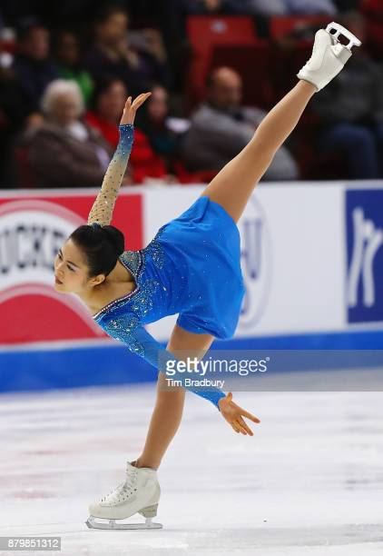 Satoko Miyahara of Japan competes in the Ladies' Free Skate during day three of 2017 Bridgestone Skate America at Herb Brooks Arena on November 26...