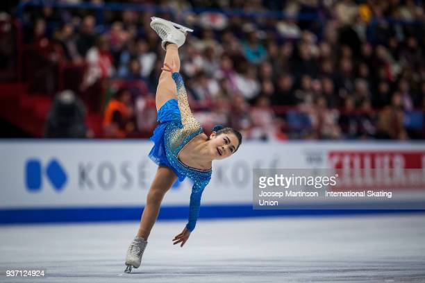 Satoko Miyahara of Japan competes in the Ladies Free Skating during day three of the World Figure Skating Championships at Mediolanum Forum on March...