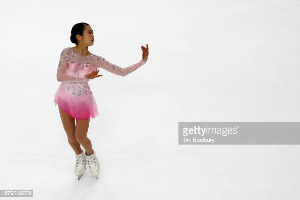 Satoko Miyahara of Japan competes in the Ladies' Short Program during day two of 2017 Bridgestone Skate America at Herb Brooks Arena on November 25...