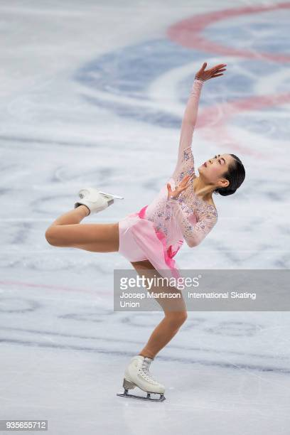 Satoko Miyahara of Japan competes in the Ladies Short Program during day one of the World Figure Skating Championships at Mediolanum Forum on March...