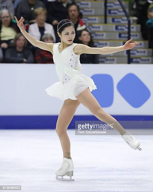 Satoko Miyahara of Japan competes in the Women's Singles Free Program during day two of the 2016 Skate Canada International at Hershey Centre on...