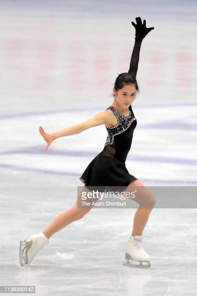 Satoko Miyahara of Japan in action during a practice session ahead of the Ladies Free Skating on day three of the 2019 ISU World Figure Skating...