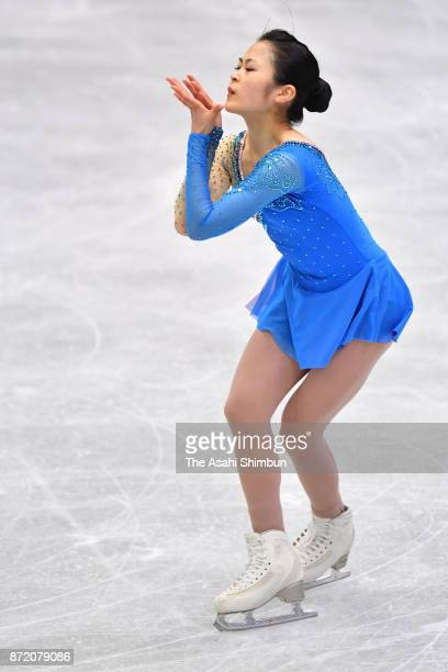 Satoko Miyahara of Japan in action during a practice session ahead of the ISU Grand Prix of Figure Skating NHK Trophy at Osaka Municipal Central...