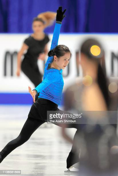 Satoko Miyahara of Japan in action during a practice session on day two of the 2019 ISU World Figure Skating Championships at Saitama Super Arena on...