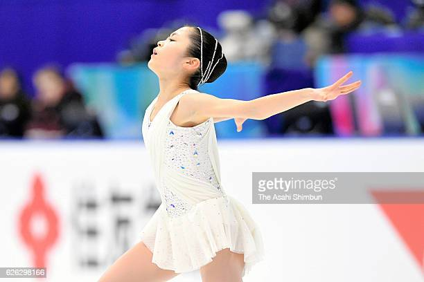 Satoko Miyahara of Japan in action during a practice session prior to competing in Ladies Singles free skating during day two of the ISU Grand Prix...
