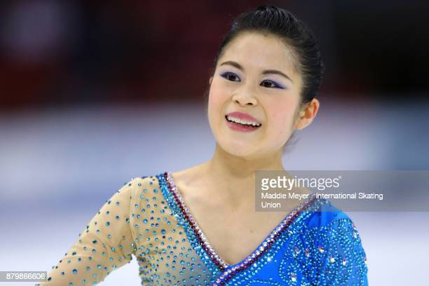 Satoko Miyahara of Japan looks on after her Ladies Free Dance program on Day 3 of the ISU Grand Prix of Figure Skating at Herb Brooks Arena on...