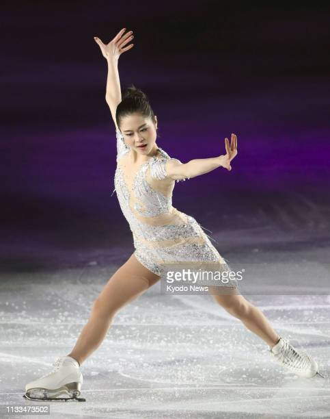Satoko Miyahara of Japan performs during an ice show in Osaka on March 29 2019 ==Kyodo