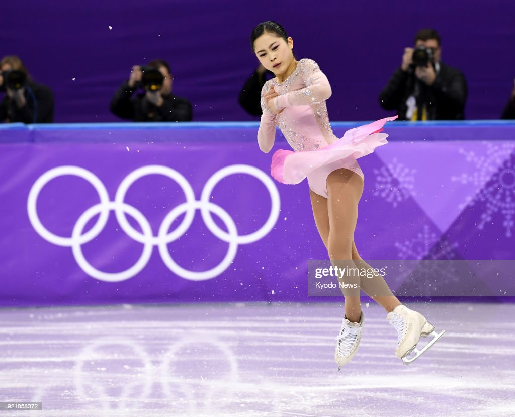 Satoko Miyahara of Japan performs during the women's figure skating short program at the Pyeongchang Winter Olympics in Gangneung, South Korea, on Feb. 21, 2018. ==Kyodo