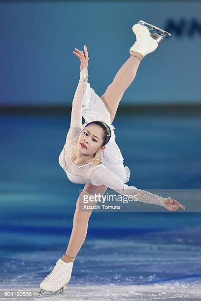 Satoko Miyahara of Japan performs her routine during the NHK Special Figure Skating Exhibition at the Morioka Ice Arena on January 9, 2016 in...
