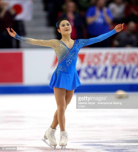 Satoko Miyahara of Japan performs in the Ladies Free Dance program on Day 3 of the ISU Grand Prix of Figure Skating at Herb Brooks Arena on November...