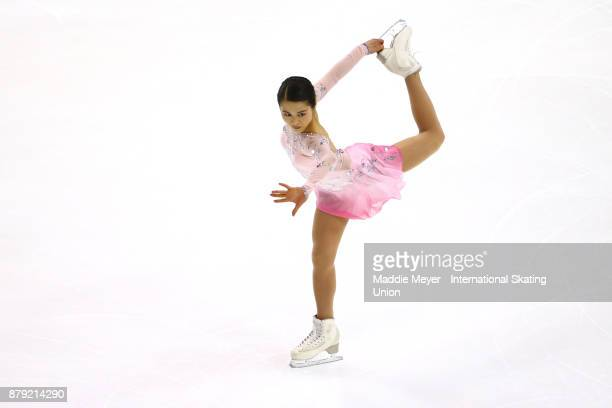 Satoko Miyahara of Japan performs in the Ladies short program on Day 2 of the ISU Grand Prix of Figure Skating at Herb Brooks Arena on November 25...