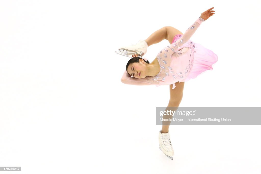 Satoko Miyahara of Japan performs in the Ladies short program on Day 2 of the ISU Grand Prix of Figure Skating at Herb Brooks Arena on November 25, 2017 in Lake Placid, United States.