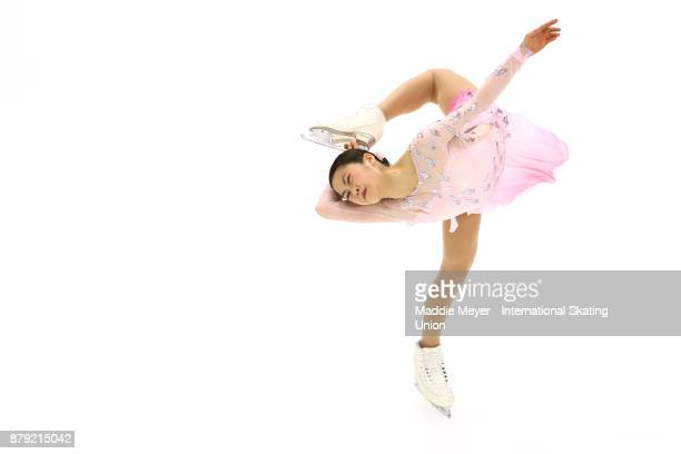 Satoko Miyahara of Japan performs in the Ladies short program on Day 2 of the ISU Grand Prix of Figure Skating at Herb Brooks Arena on November 25...