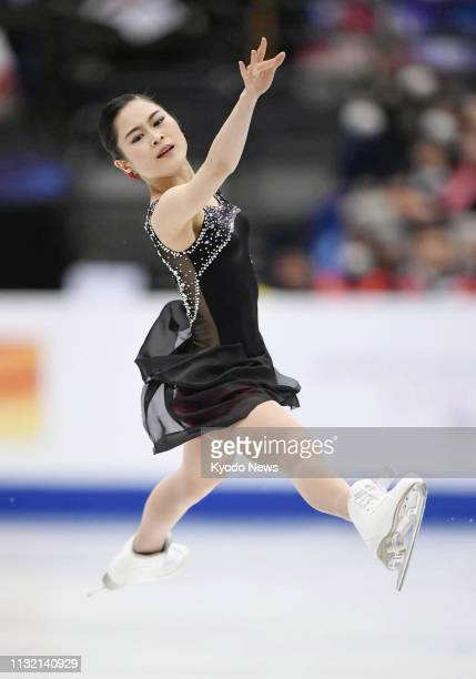 Satoko Miyahara of Japan performs in the women's free program at the world figure skating championships at Saitama Super Arena near Tokyo on March 22...