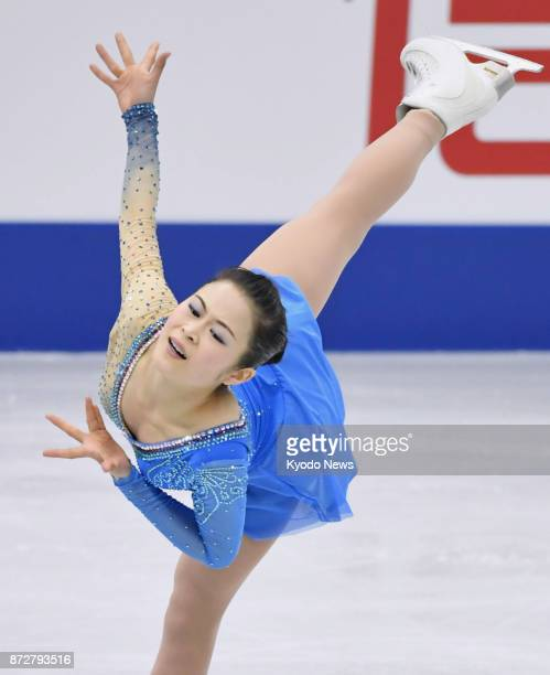 Satoko Miyahara of Japan performs in the women's free skate at the NHK Trophy figure skating competition in Osaka on Nov 11 2017 Miyahara finished...