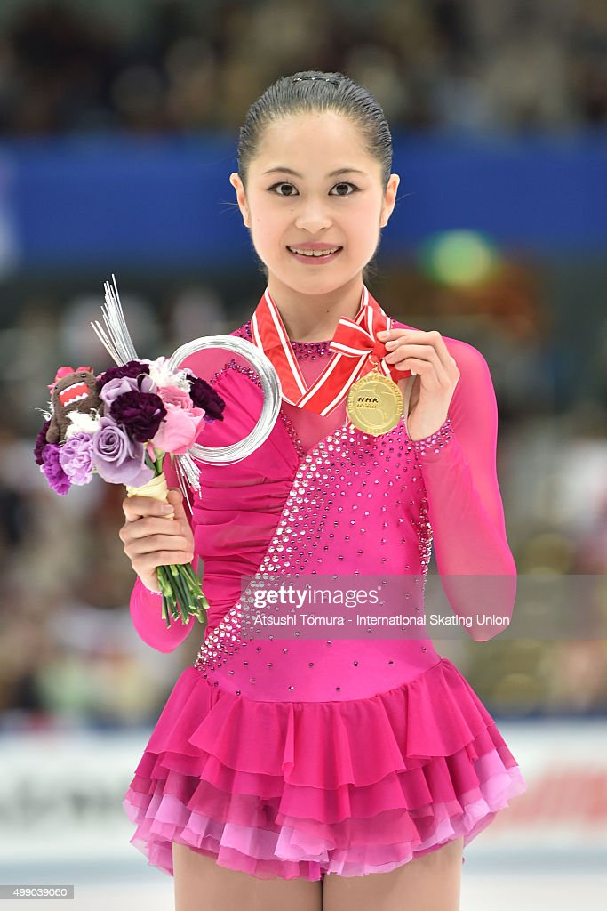 Satoko Miyahara of Japan poses with her gold medal during the day two of the NHK Trophy ISU Grand Prix of Figure Skating 2015 at the Big Hat on November 28, 2015 in Nagano, Japan.