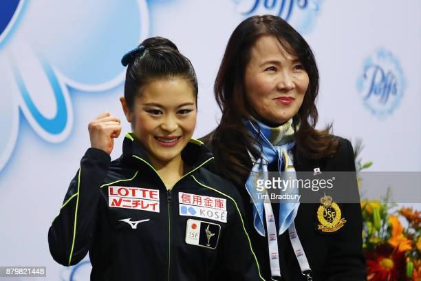 Satoko Miyahara of Japan reacts after competing in the Ladies' Free Skate during day three of 2017 Bridgestone Skate America at Herb Brooks Arena on...