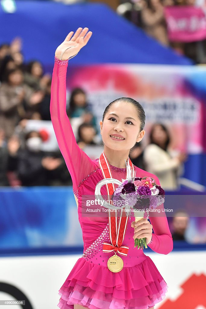 Satoko Miyahara of Japan reacts after winning gold in the ladies's free skating during the day two of the NHK Trophy ISU Grand Prix of Figure Skating 2015 at the Big Hat on November 28, 2015 in Nagano, Japan.