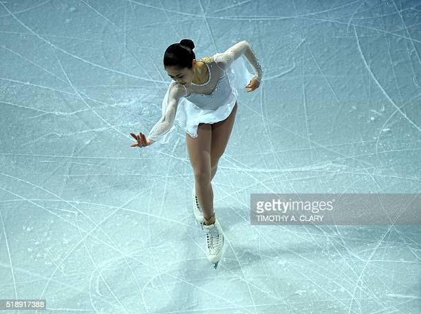 Satoko Miyahara of Japan skates during the Exhibition of Champions program at the ISU World Figure Skating Championships at TD Garden in Boston...