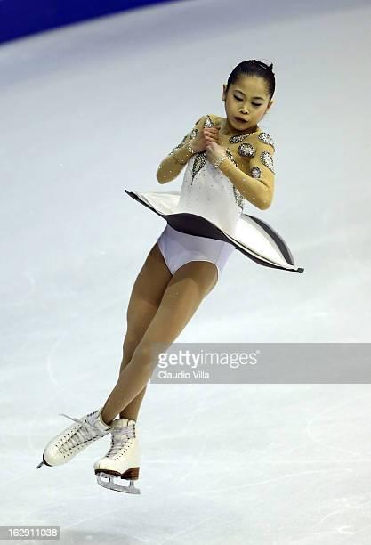 Satoko Miyahara of Japan skates in the Junior Ladies Short Program during day 5 of the ISU World Junior Figure Skating Championships at Agora Arena...