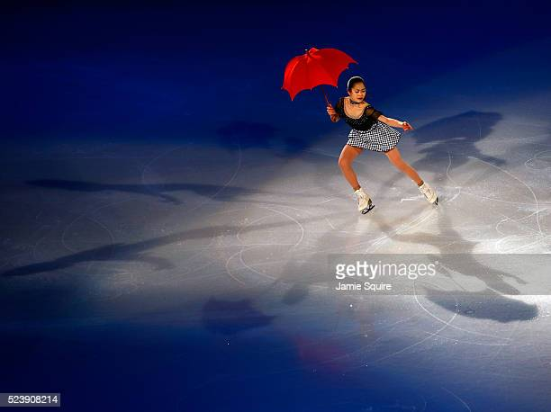Satoko Miyahara of Team Asia performs during an exhibition on day 3 of the 2016 KOSE Team Challenge Cup at Spokane Arena on April 24 2016 in Spokane...