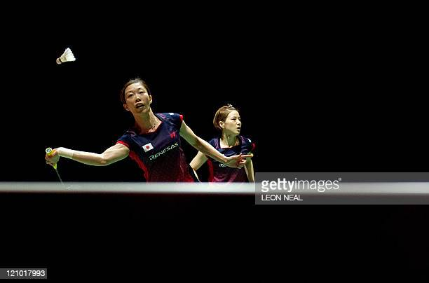 Satoko Suetsana and Miyuki Maeda of Japan return a shot to Wang Xiaoli and Yu Yang of China during the women's doubles semifinals at the World...
