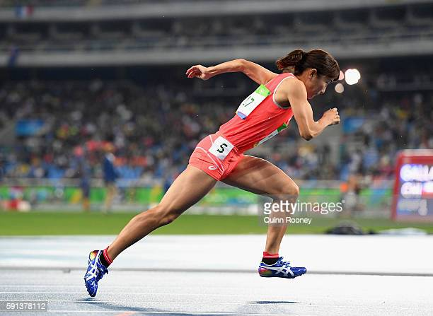 Satomi Kubokura of Japan competes in the Women's 400m Hurdles Round 1 on Day 10 of the Rio 2016 Olympic Games at the Olympic Stadium on August 15,...