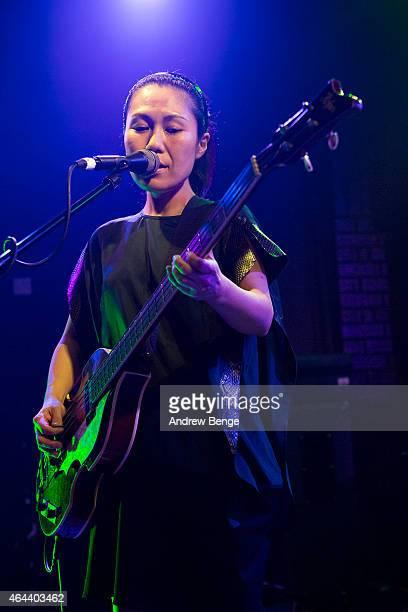 Satomi Matsuzaki of Deerhoof performs on stage at Brudenell Social Club on February 25 2015 in Leeds United Kingdom
