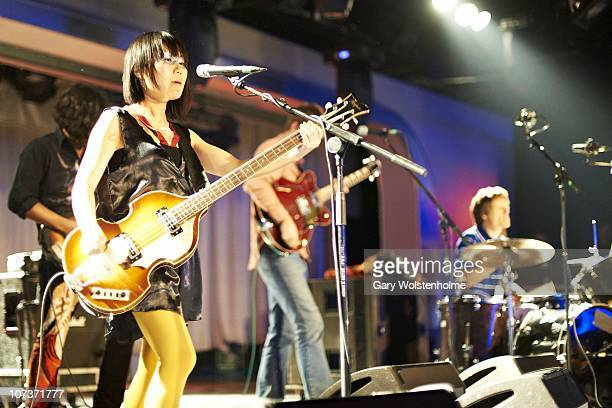 Satomi Matsuzaki of Deerhoof performs on stage during the final day of ATP Nightmare Before Christmas at Butlins Holiday Centre on December 5 2010 in...