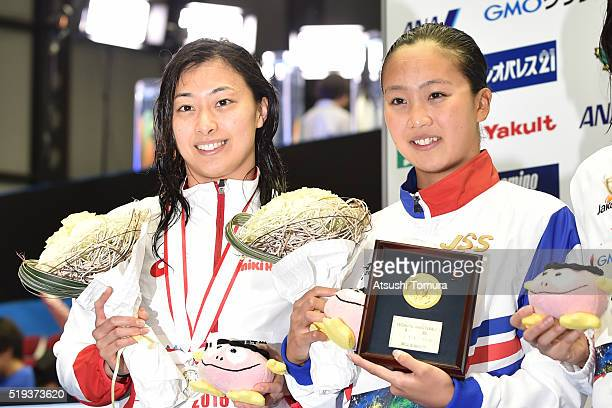 Satomi Suzuki and Kanako Watanabe of Japan pose on the podium after the Women's 100m Breaststroke final during the Japan Swim 2016 at Tokyo Tatsumi...