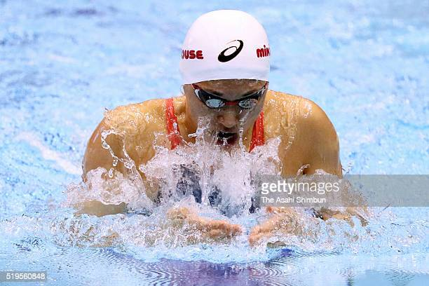 Satomi Suzuki competes in the Women's 100m Breaststroke final during day three of the Japan Swim 2016 at Tokyo Tatsumi International Swimming Center...